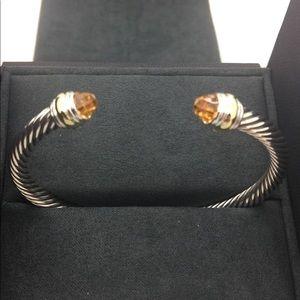 David Yurman SS Citrine 14Kt 5 Mm Bracelet Medium